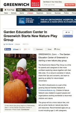 Garden Education Center In Greenwich Starts New Nature Play Group by Tom Renner Lifestyle 09/01/14 http://greenwich.dailyvoice.com/lifestyle/garden-education-center-greenwich-starts-new-nature-play-group