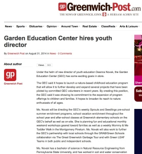 Garden Education Center hires youth director By Greenwich Post on August 31, 2014 http://www.greenwich-post.com/29206/garden-education-center-hires-youth-director/