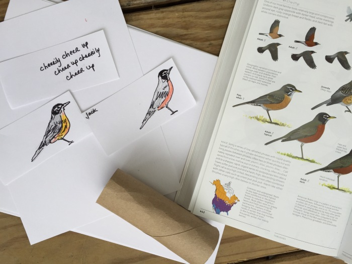 Sibley's guide on hand, and some little hand held birds for our song. Maybe you'd like to make two little birds? Maybe you'd like to color a bird spotting scope?